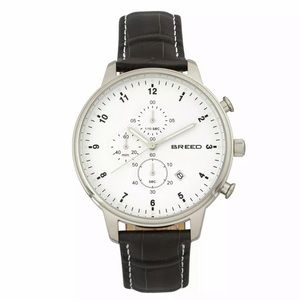 Breed Holden Chronograph Watch Silver Leather NEW